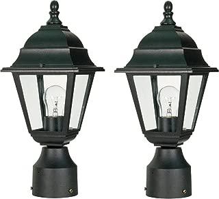 One Light Post Lantern (Black, 2-Pack)
