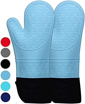 HOMWE Extra Long Professional Silicone Oven Mitt (Aqua)