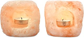 Mineralamp LTL-2-23 Natural Himalayan Hand Carved Double Hole Lantern Tealight Candle Holder, 2-3 lbs, 2-Pack, Peach/Pink