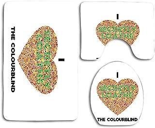 Ishihara Colourblind Test∶ I Heart The Colourblind (Au UK Spelling) Toilet Seat Cover Bath Mat Lid Cover,3pcs/Set Rugs