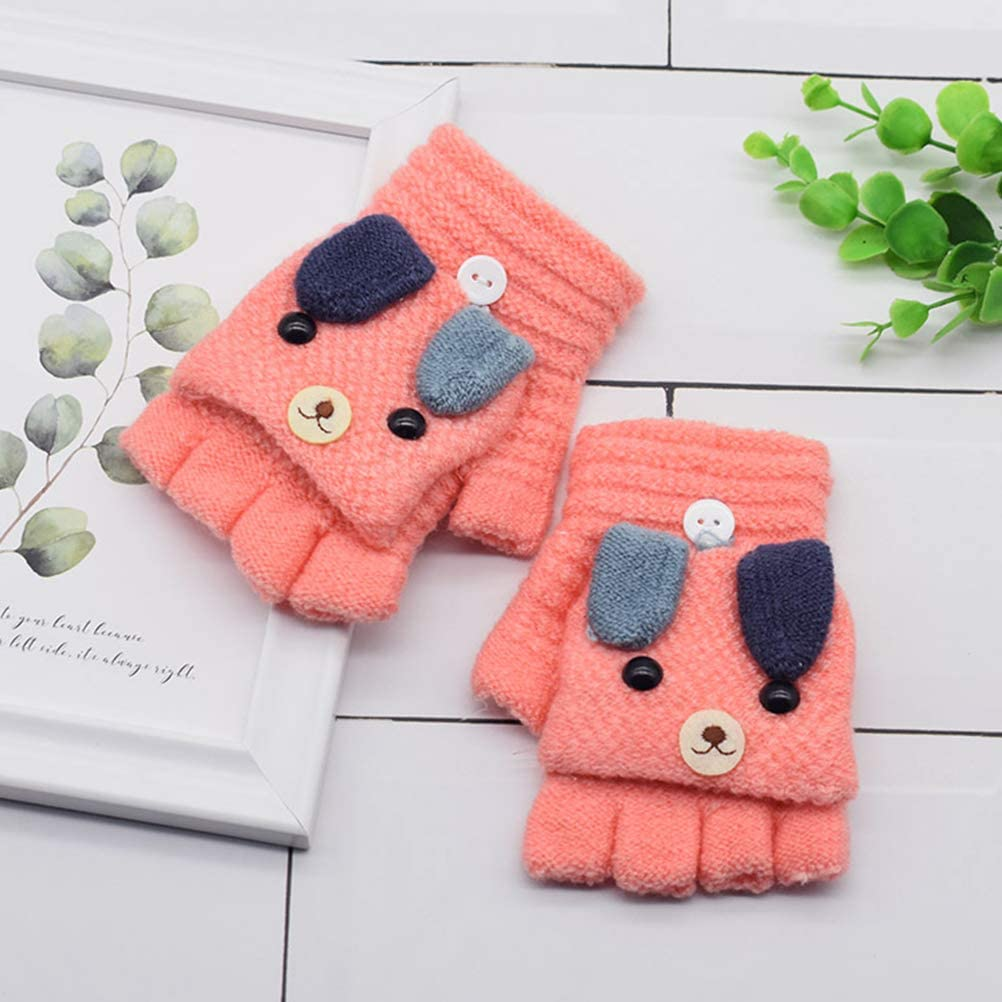KESYOO 1Pair Knitted Half-finger Gloves Cute Cartoon Puppy Clamshell Mitten Warm Mitts Party Decor Supply