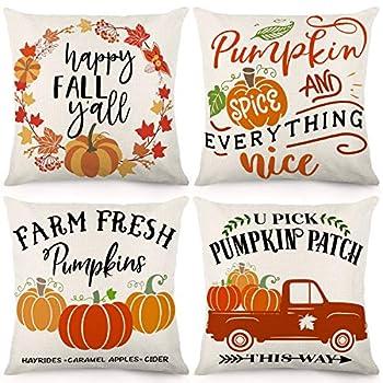 CDWERD Fall Pillow Covers 18x18 Inches Fall Decorations Thanksgiving Farmhouse Throw Pillowcase Autumn Pumpkin Cushion Case for Home Decor Set of 4
