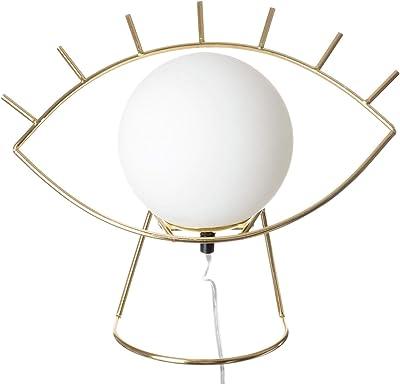 Neoly 38-2L-013 Lampe Oeil Golden eye Blanc et doré Métal et verre H30 x 16 x 33 cm