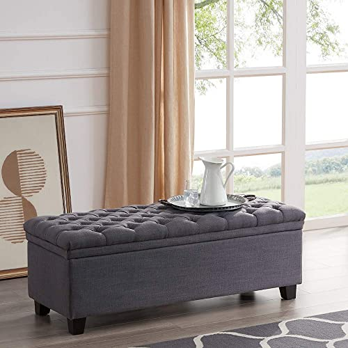 """discount BELLEZE high quality 48"""" Rectangular Hinged Lid Lift Top Laguna outlet online sale Button Tufted Fabric Storage Ottoman Bench, Grey outlet online sale"""