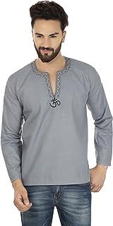 Maple Clothing Men's Short Kurta Cotton Fashion Shirt Embroidered Indian Clothing