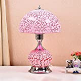 Gal Lámpara de mesita de noche para dormitorio, estilo europeo, lámpara de mesa de cristal con mando a distancia, luz cálida, 25 x 37 cm (color: rosa)