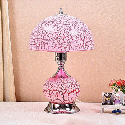 Gal Lámpara de mesita de noche para dormitorio, estilo europeo, lámpara de mesa de cristal con...