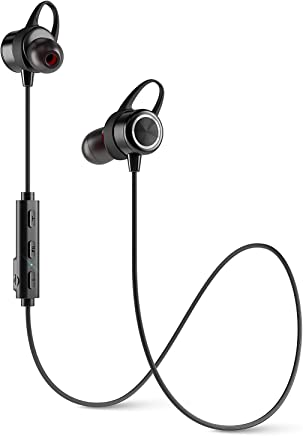 Diginex Bluetooth Earbuds Wireless Magnetic Headset Sport Earphones for Running IPX7 Waterproof Headphones 9 Hours Playtime High Fidelity Stereo Sound and Noise Cancelling Mic 1 Hour Recharge – Black