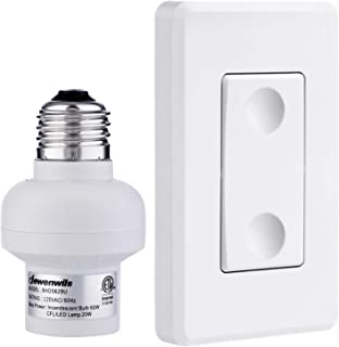 DEWENWILS Remote Control Light Lamp Socket E26 E27 Bulb Base Adapter, No Wiring, Wall Mounted Wireless Controlled Ceiling ...
