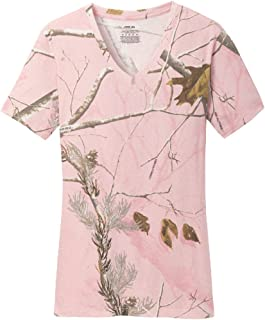 Ladies Realtree Camo 100% Cotton V-Neck T-Shirts in XS-3XL