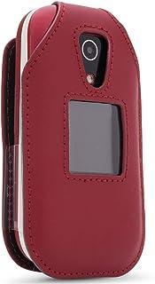 Funda de piel ajustable para teléfono celular Doro 7050, Tracfone Doro 7050L con tapa – Características: clip giratorio pa...