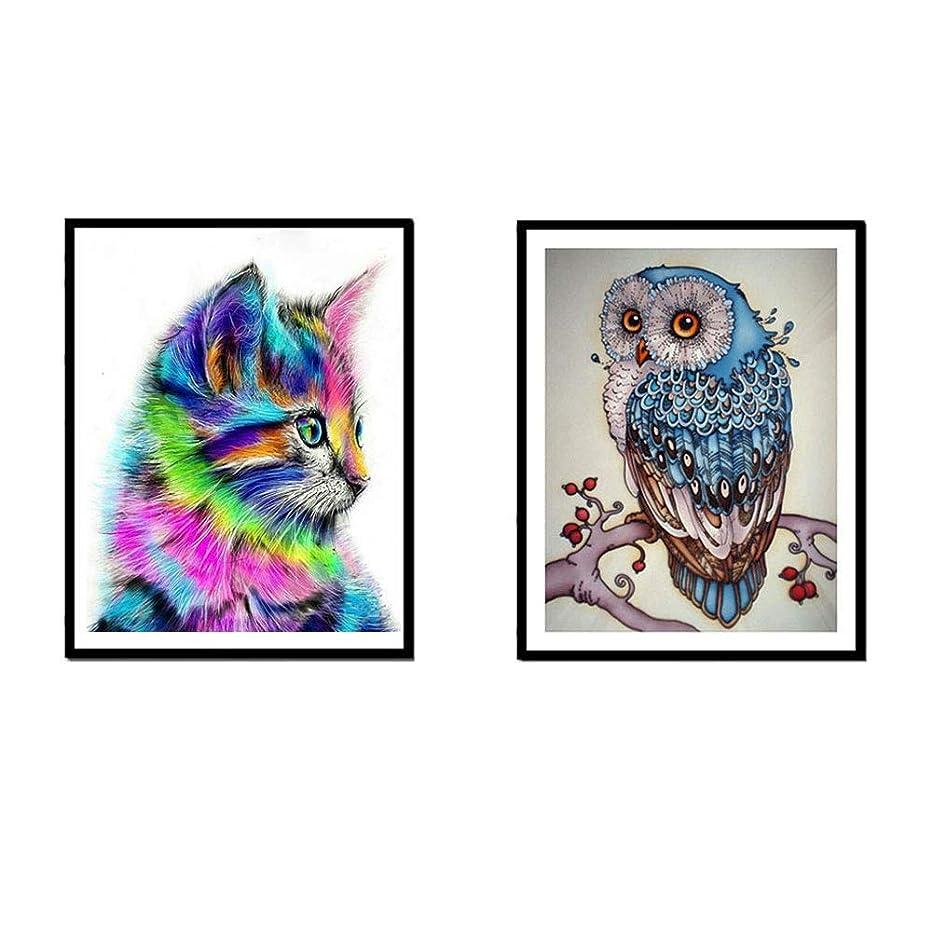 2-Pack DIY 5D Diamond Painting Kit, Diamond Owl & Cat Embroidery Rhinestone Cross Stitch Arts Craft Supply for Home Wall Decor (Owl & Cat)