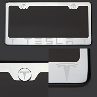 One Tesla Laser Engraved Polish Mirror Stainless Steel License Plate Frame with Logo Steel Chrome Screw Cap