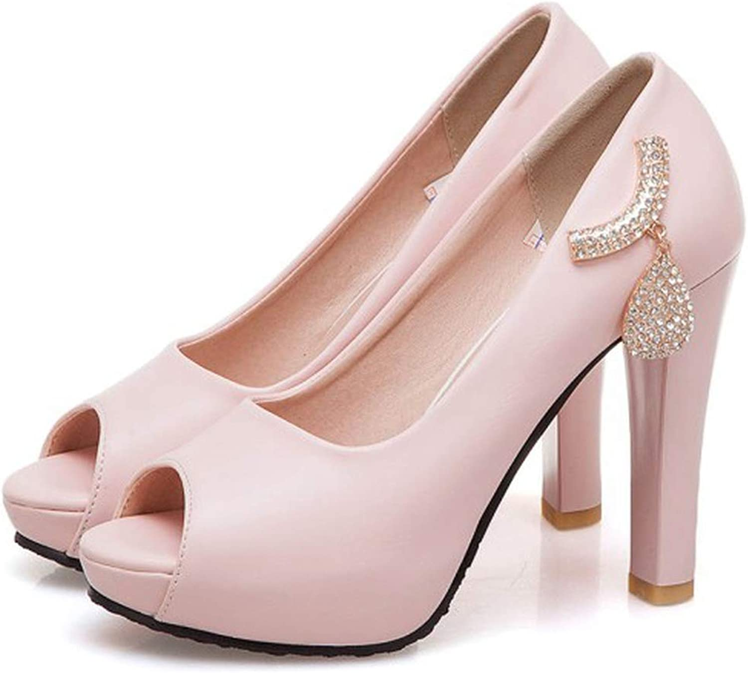 Women's Sandals Summer Crystal Fish Mouth Open Toe Thick Heel High Heel Women's shoes Plus Size,2,8