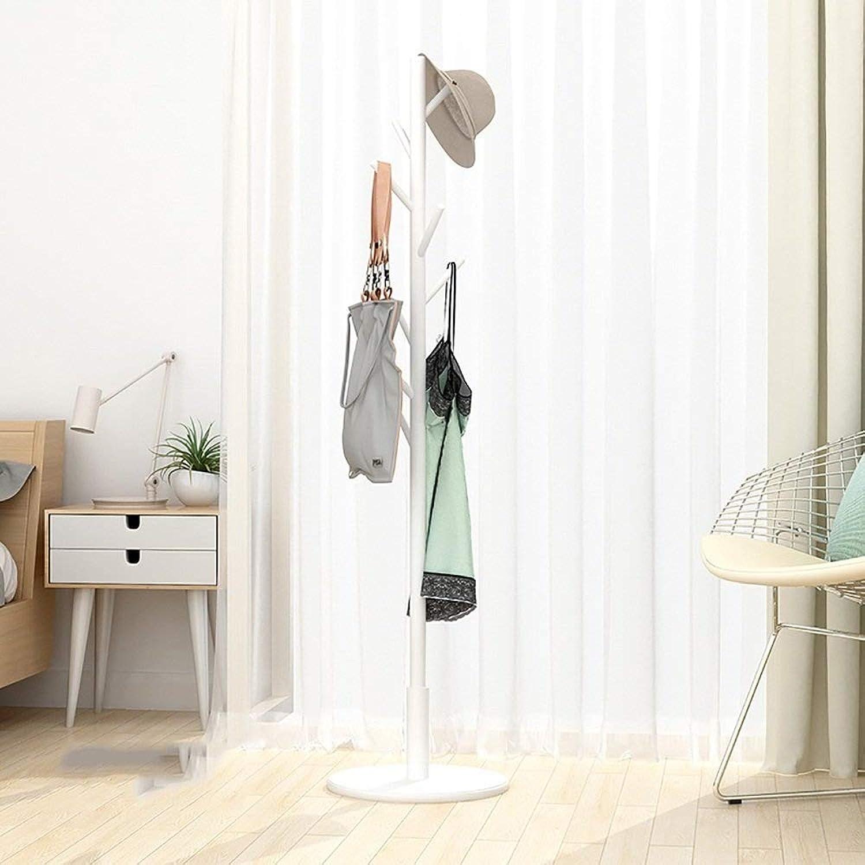 Coat Rack Creative Solid Wood Floorstanding Hangers Household Simple Hangers 4 colors Optional Wall Hanger Reddish Brown Bedroom Haiming (color   White)