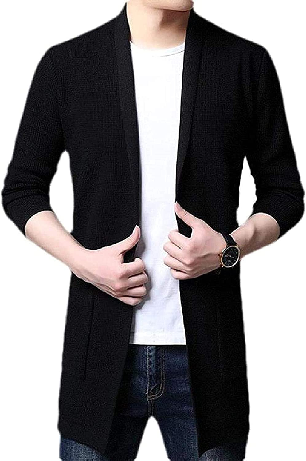 Mens Shawl Collar Basic Knitted Open Front Slim Fit Sweater Cardigan