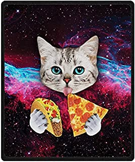 Qihua Universe Starry Cat Eat Pizza Blanket Velvet Plush Throw Blanket Bed Blankets Super Soft and Cozy Fleece Feeling Blanket for Travelling 58