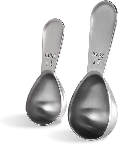 Coffee Scoop: U-Taste Durable 18/8 Stainless Steel Measuring Coffee Scoop 1 tablespoon & 2 tablespoon