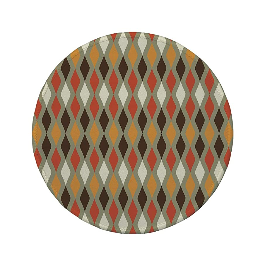 Non-Slip Rubber Round Mouse Pad,Geometric,Vertical Wavy Lines with Retro Colored Classical Pattern with Modern Elements Decorative,Multicolor,11.8
