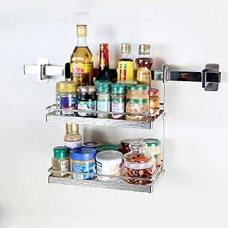 HSWJ Support de Rangement en Rack de Cuisine en Acier Inoxydable en Rack Mural Spice Double Couche en Rack perforé Cuisine...
