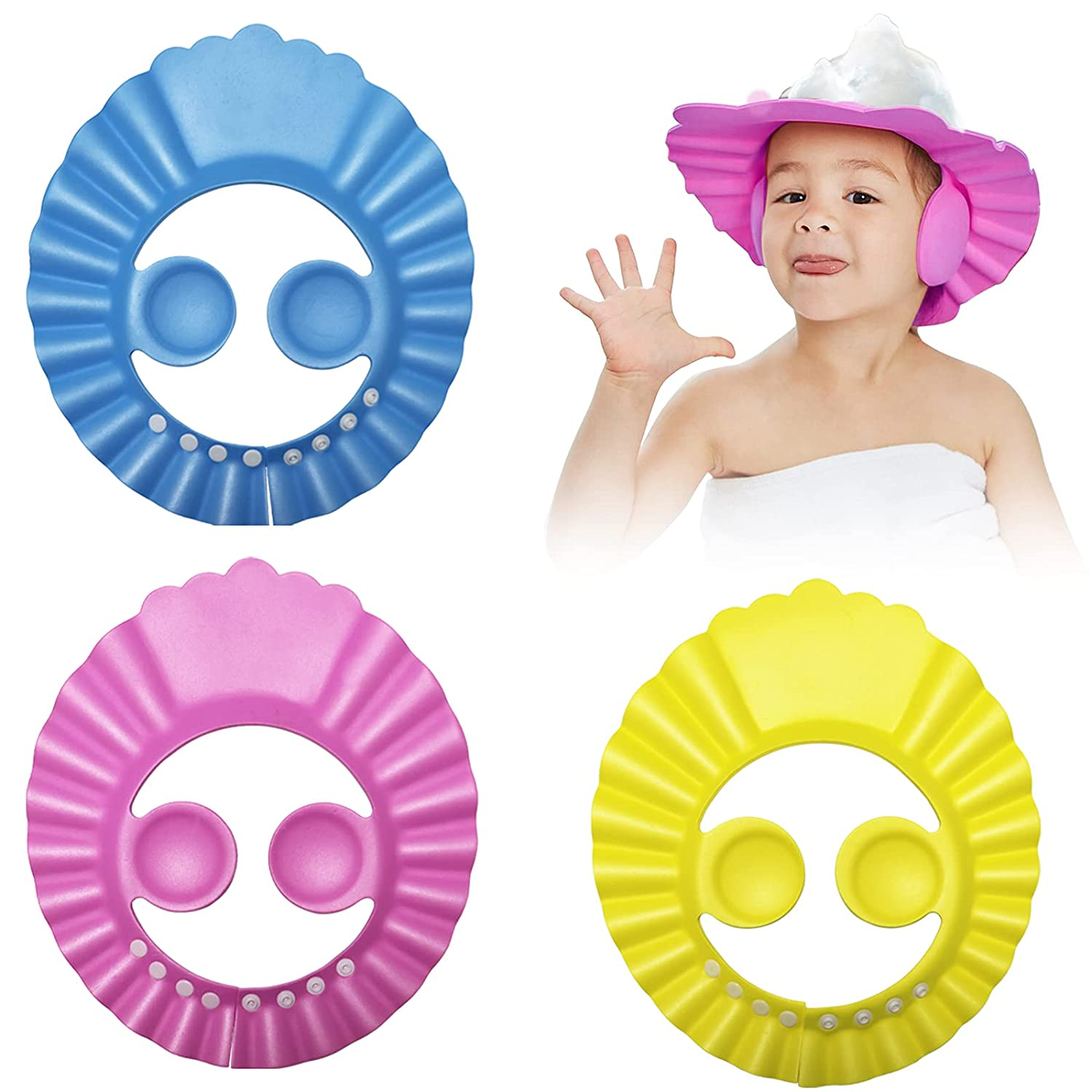 Fudragtn Baby Shower Cap, 3 pcs 3 Colors Adjustable Bath Shampoo Cap, Children's Shampoo Foam Protective Cover, can Prevent Water and Foam from Entering The Baby's Ears and Eyes