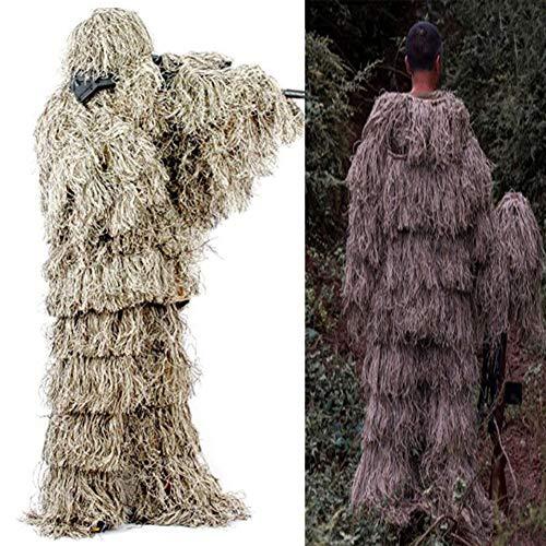 RANRANHOME Warrior Ghillie Suit - Camouflage Chasse dans Jungle, Équipement Camouflage Supérieur Tireurs D'Élite Militaires, Chasseurs, Paintball Et Airsoft, Photographie Faune, Halloween