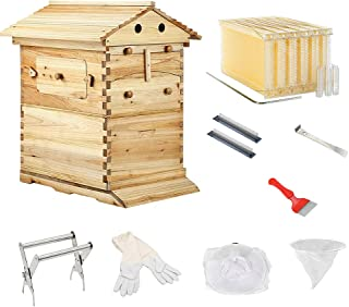 Wooden Beekeeping Beehive House +7PCS Upgraded Auto Honey Bee Comb Hive Frame