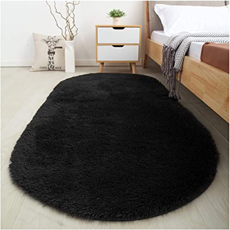 Amazon Com Softlife Fluffy Area Rugs For Bedroom 2 6 X 5 3 Oval Shaggy Floor Carpet Cute Rug For Girls Room Kids Room Living Room Home Decor Black Home Kitchen