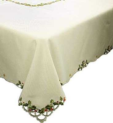 Poinsettia Berry Emerald by indybloomdesign Floral Tablecloth Holiday Cotton Sateen Tablecloth by Spoonflower