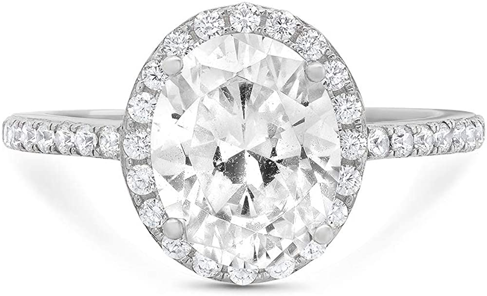 3.42ct Brilliant Oval Cut Solitaire with Accent Halo Genuine Lab Created White Sapphire Ideal VVS1 & Simulated Diamond Engagement Promise Statement Anniversary Bridal Wedding Ring Solid 14k White Gold