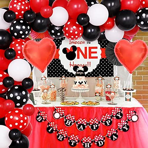 Jollyboom Suministros de decoración de Fiesta de cumpleaños de Minnie Kit de Arco de Guirnalda de Globos de Minnie Rojo y Negro para niños 1er 2do 3er 4to cumpleaños