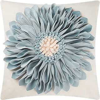OiseauVoler 3D Sunflowers Handmade Throw Pillow Cases Decorative Cushion Covers Canvas Pillowcases Home Sofa Car Bed Room Decor 18 x 18 Inch Blue