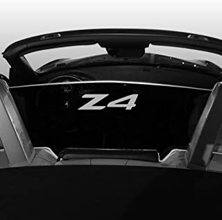 2002-2008 BMW Z4 Convertible Wind Blocker - Control air flow, cut down turbulence, wind noise - Patented - Easy Install, Secure Mounting - Laser-Etched Design - Silver Bracket