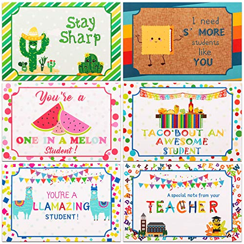60 Pieces Thinking of You School Themed Blank Postcards Colorful Cute Postcards Accessories for Teachers Students Showing Love Encouragement and Support