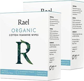 Rael Organic Cotton Feminine Wipes - 100% Purified Water, OCS Certified Organic Cotton, Biodegradable, Ideal for Sensitive...