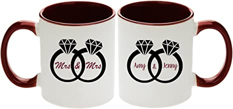 Lesbian Wedding Gift - Pair of Mrs & Mrs Diamond Rings Design Coffee Mugs with Optional Personalization! (2pcs) (Personalize Them!)