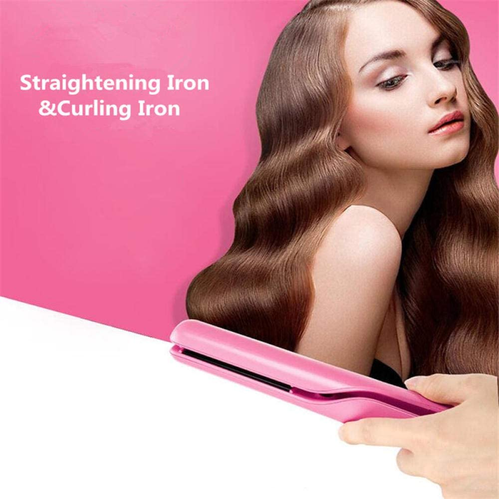 Professional Electric Straightening Iron & Curling Iron Hair Curler 2 in 1 Hair Straightener Flat Irons Ceramic Styling Tools-powder Powder SuvLX