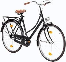 Bicicleta Holandesa Vintaje de 28 Pulgadas para Hombres/Mujeres Adultos City Bikes Bicicleta Urbana Bicicleta de Paseo Trekking con Luz Freno Coaster, Negro Mate [EU Stock]