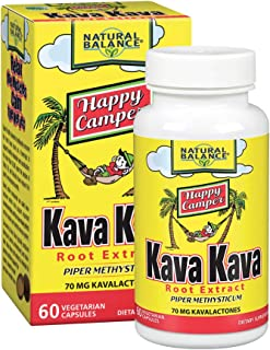 Natural Balance Happy Camper Kava Kava Root Extract | 70mg Kavalactones | Calm & Relaxation Supplement for Mood & Stress Support | 60 VegCaps