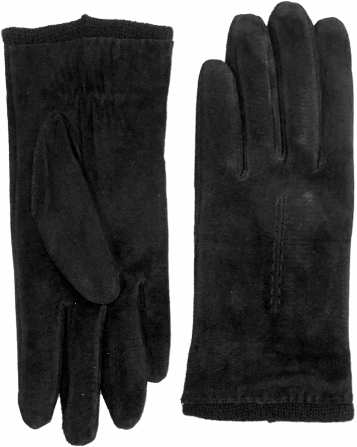 Fownes Womens Black Suede Leather Driving Gloves Acrylic Lined X-Large