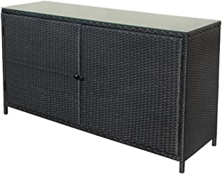Wicker Rattan Buffet Serving Cabinet Table Towel Dining Dish China Storage Counter Outdoor 59x18x33