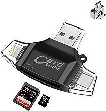 Sonoka Lector Tarjetas de Memoria - Auelek 4 en 1 Adaptador Tarjetas USB 2.0 / Lightning/Micro USB/Tipo C Conector, Lector Tarjetas Micro SD y Adaptador OTG para iPhone, iPad, MacBook y Phone Andriod