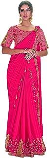 DesiButik's Beautiful Pink Silk Georgette And Crush Silk Pre-Plated Saree