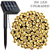 LiyuanQ Solar String Lights Outdoor, Upgraded 72ft 200 LED Solar Fairy Lights Waterproof 8 Modes Garden Decorative Lights for Tree Patio Yard Home Xmas Wedding Party (Warm White) [Energy Class A++]