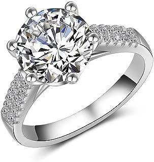 A.Minnymin 3ct Round Cut White Sapphire CZ Band 925 Silver Engagement Jewelry Ring Size 4-9 (5.5)