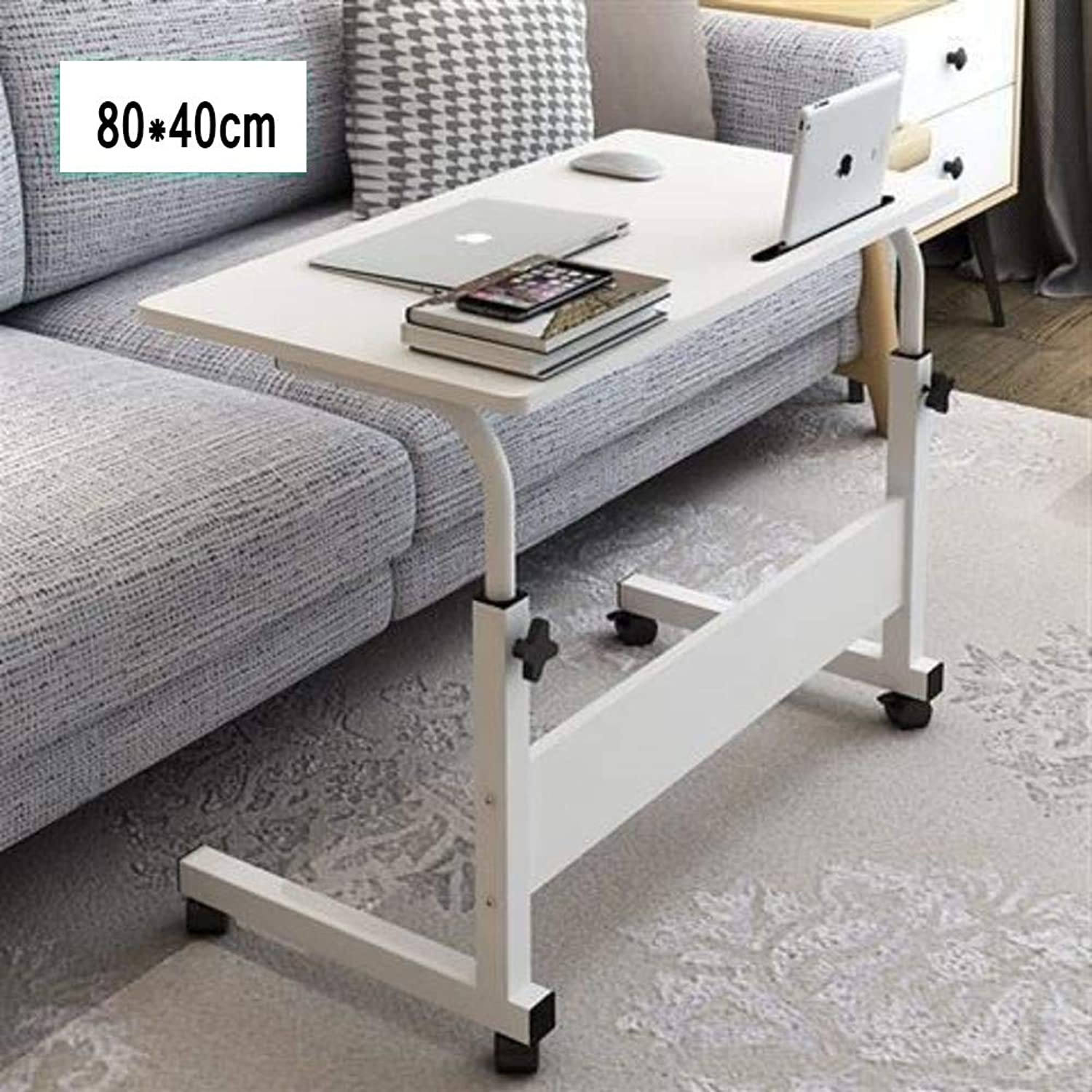 Bedside Computer Desk 1,Mobile Laptop Computer Table,Adjustable Height Desktop Table Stand with Wheels Slot Over Bed Hospital-b 80x40cm(31x16inch)