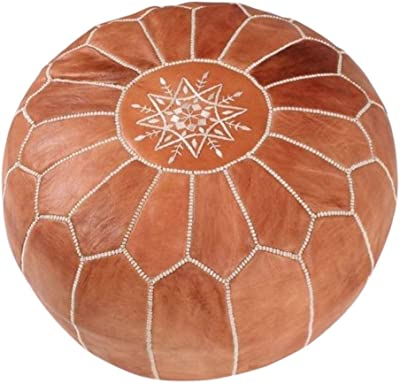 "maisonmarrakech Handmade Leather Footstool Marrakech Tan Brown with White Stitching Unstuffed 23"" x 12''"