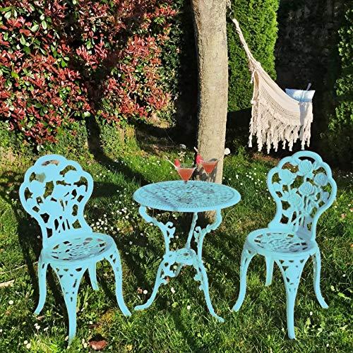 Ensemble de 1 table et 2 chaises en aluminium haute qualité et résistance pour jardin, balcon, terrasse, piscine. Fabrication artisanale en Europe. (Turquoise)