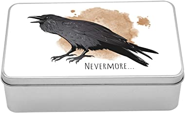 Lunarable Raven Metal Box, Digital Drawn Bird with Gothic Nevermore Wording and Paint Drops, Multi-Purpose Rectangular Tin Bo