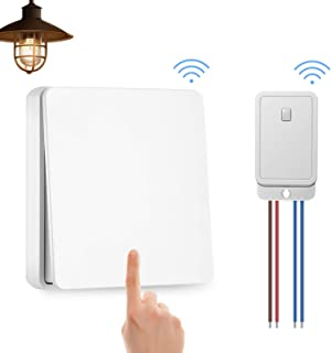 Naican Wireless Lights Switch Kit, No Battery No Wiring, Quick Build or Relocate On/off Switches for Appliances, Self-Powered Switch Remote Control House Lighting (Switch and Receiver) (White1+1)